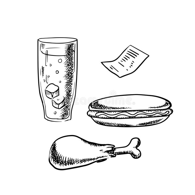 Hot-dog, jambe de poulet, verre de soude et facture illustration libre de droits