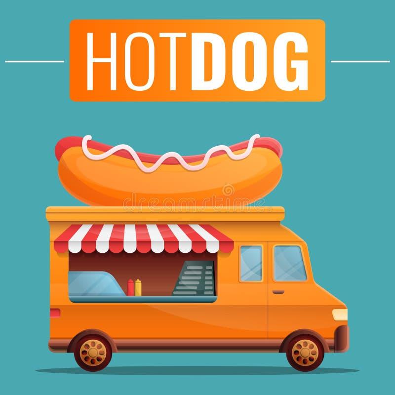 Hot dog jedzenia ciężarówki plakat, wektorowa ilustracja royalty ilustracja