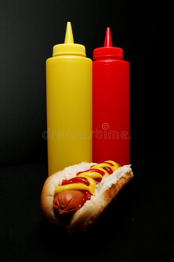 Hot Dog with Ketchup and Mustard stock image
