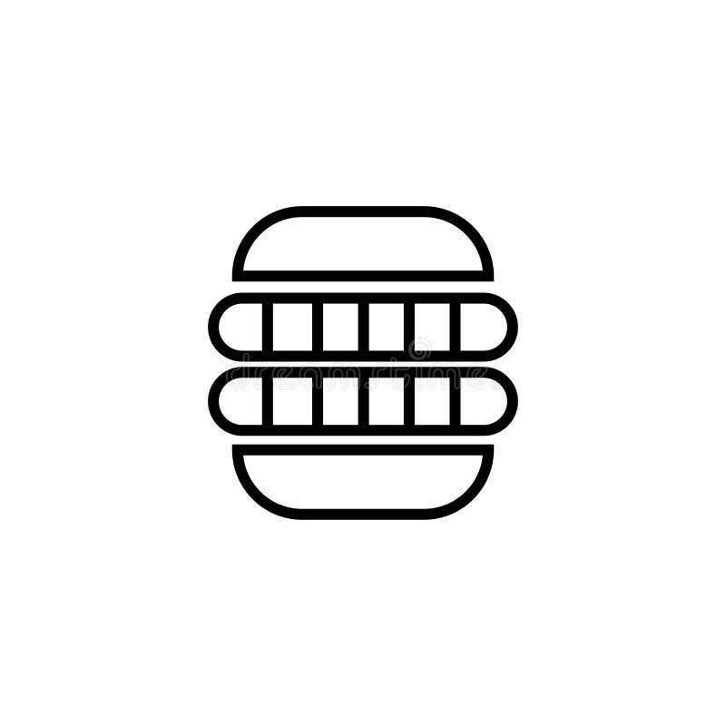 Hot dog kiełbasa w chlebowym ikona wektoru znaku i symbol odizolowywający na białym tle, hot dog kiełbasa w chlebowym logo pojęci royalty ilustracja