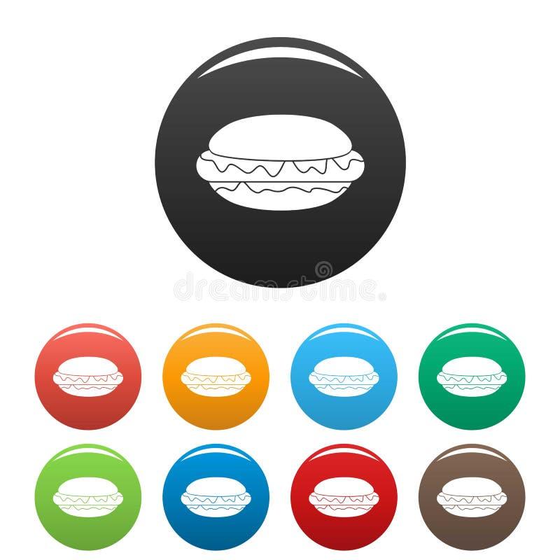 Hot dog koloru ikona ustawiający wektor ilustracji