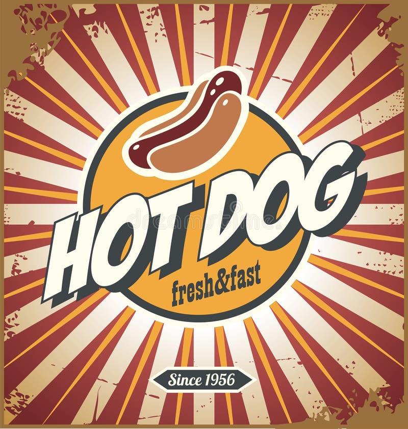 Hot dog komiczki stylu promocyjny retro szyldowy projekt royalty ilustracja