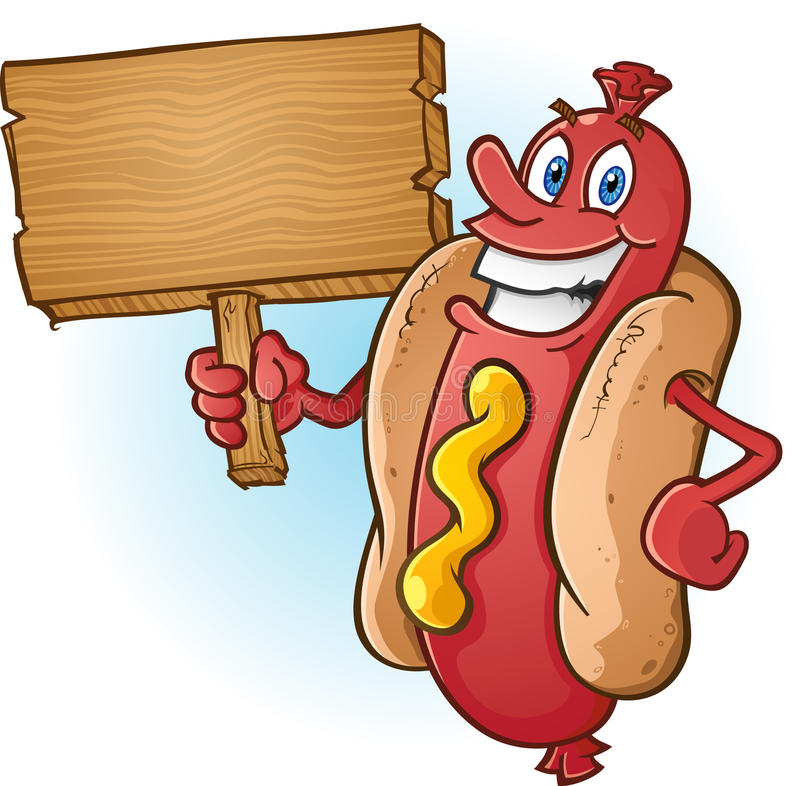 Hot Dog kreskówka Trzyma Pustego Drewnianego znaka royalty ilustracja