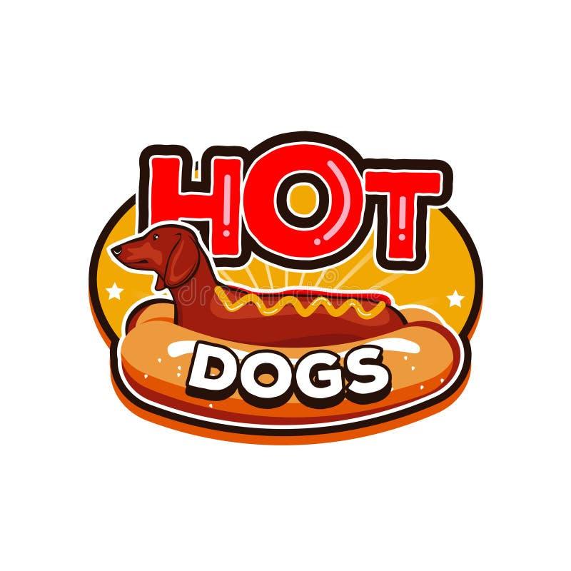 Hot dog Logo Design Template Emblem Badge illustrazione di stock