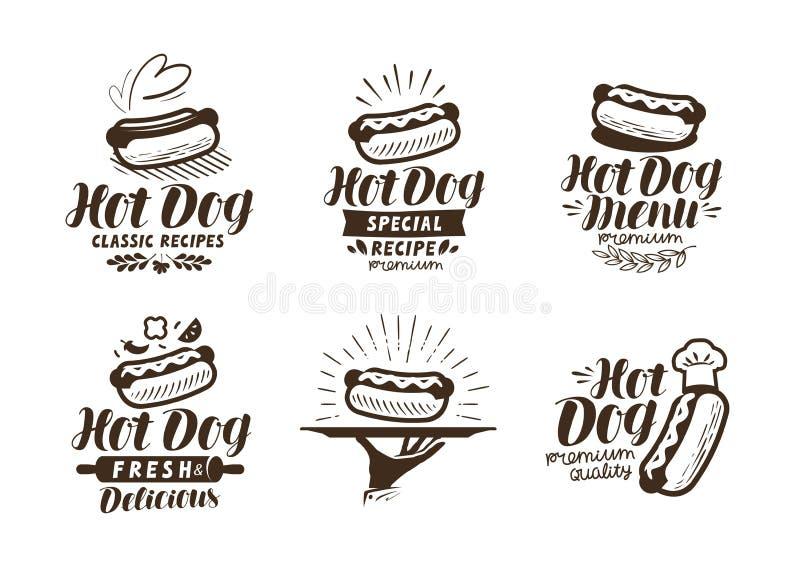 Hot dog logo or label. Fast food, takeaway icon. Lettering vector illustration vector illustration