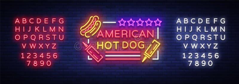 Hot dog logo w neonowym stylowym projekta szablonie Hot dog neonowi znaki, lekki sztandar, neonowy symbolu fasta food emblemat, a ilustracja wektor