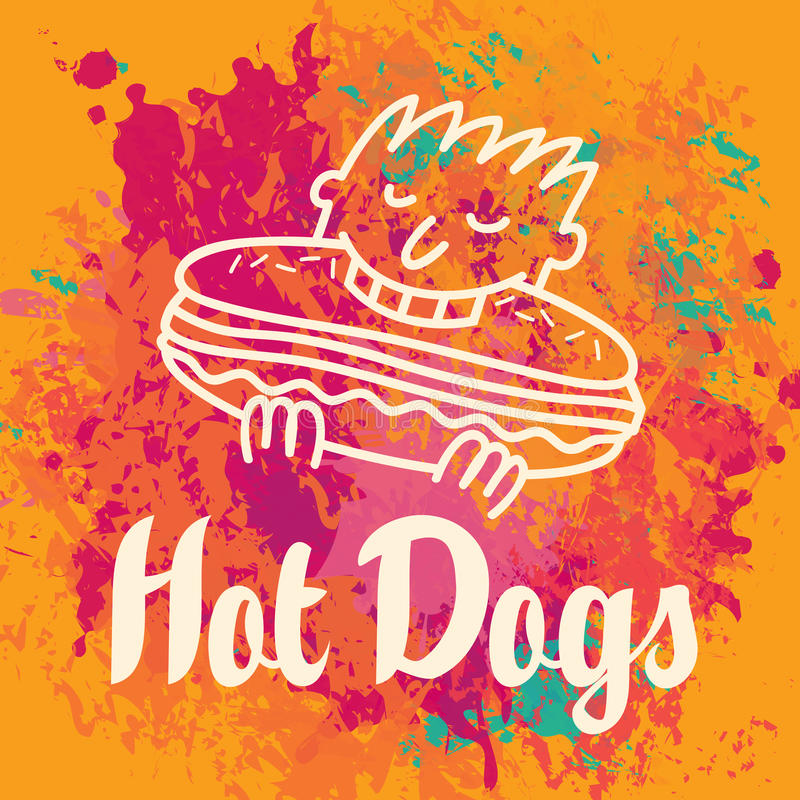 Hot dog mangiatore di uomini royalty illustrazione gratis