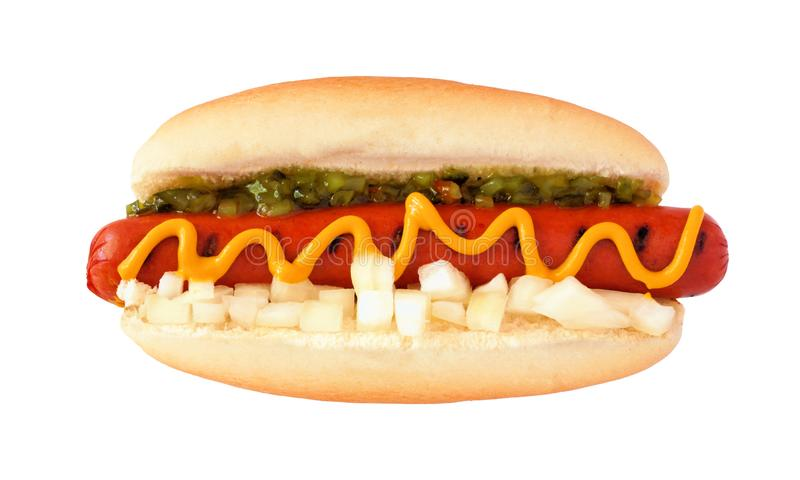 Hot dog with mustard, relish and onions, top view isolated on white stock photography