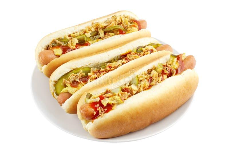 Hot dog na talerzu fotografia stock