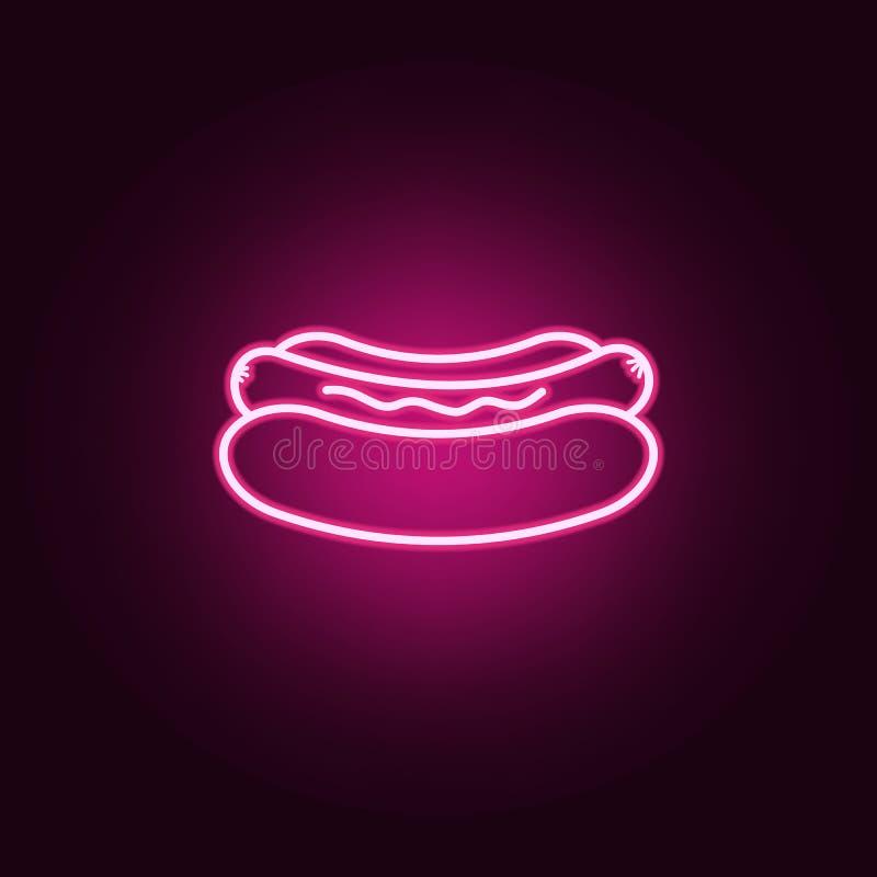 Hot dog neonowa ikona r Prosta ikona dla stron internetowych, sie? projekt, mobilny app, ewidencyjne grafika royalty ilustracja