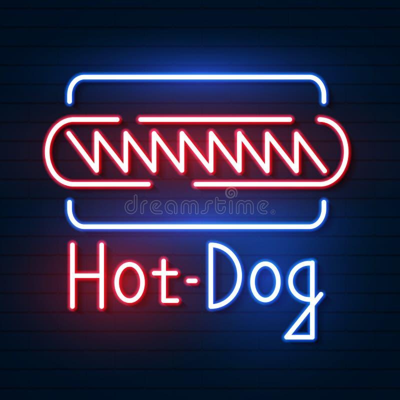 Hot Dog neonowy znak Neonowy znak, jaskrawy signboard, lekki sztandar ilustracja wektor