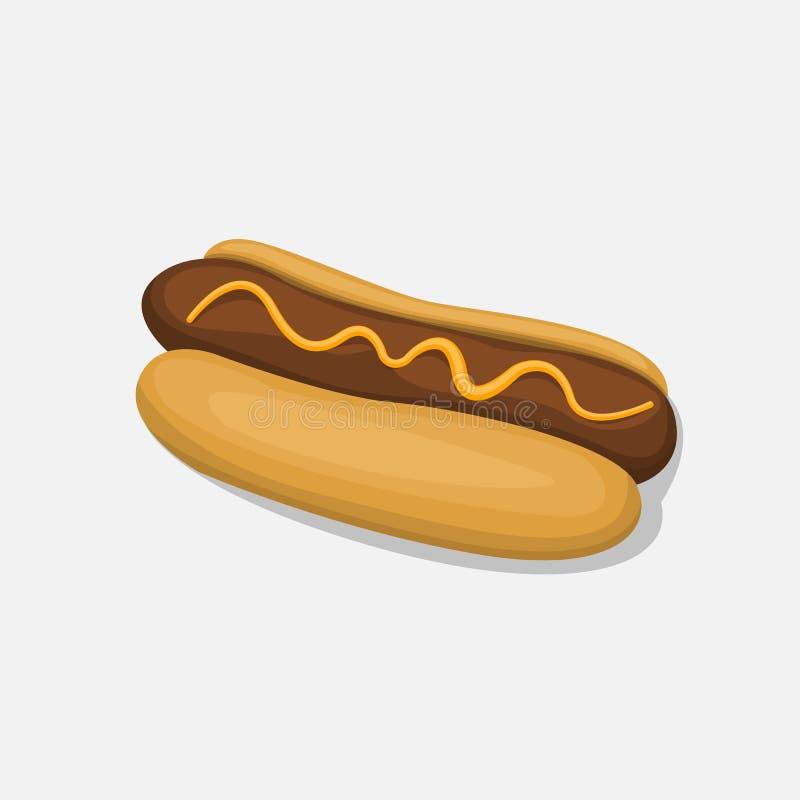 Hot Dog odizolowywający w kreskówka stylu ikonie na białym tle ilustracja wektor