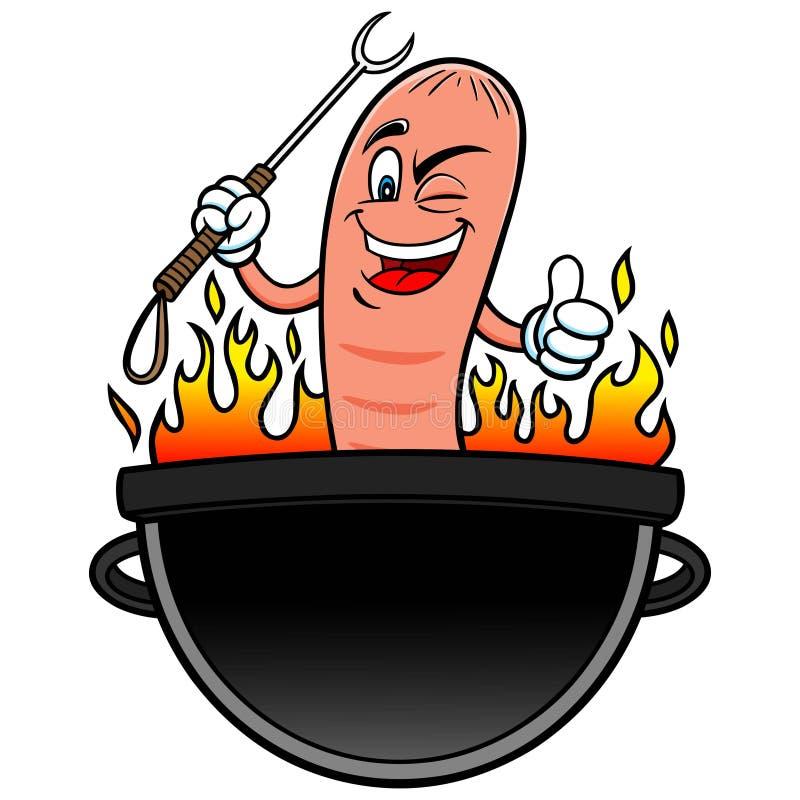 Hot Dog opieczenia przyjęcie royalty ilustracja