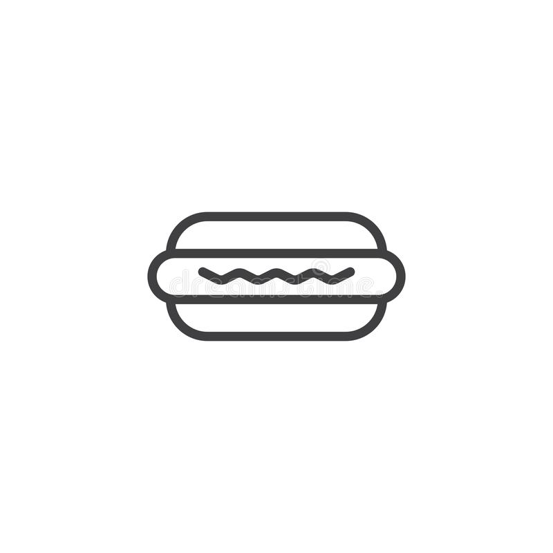 Hot dog outline icon. Linear style sign for mobile concept and web design. Hamburger simple line vector icon. Fast food symbol, logo illustration. Pixel vector illustration