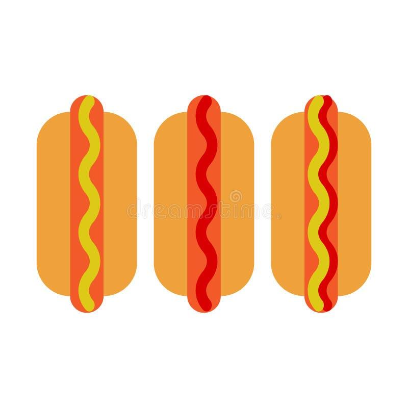 Hot dog płaska ikona, wektoru znak, kolorowy piktogram odizolowywający na bielu ilustracja wektor