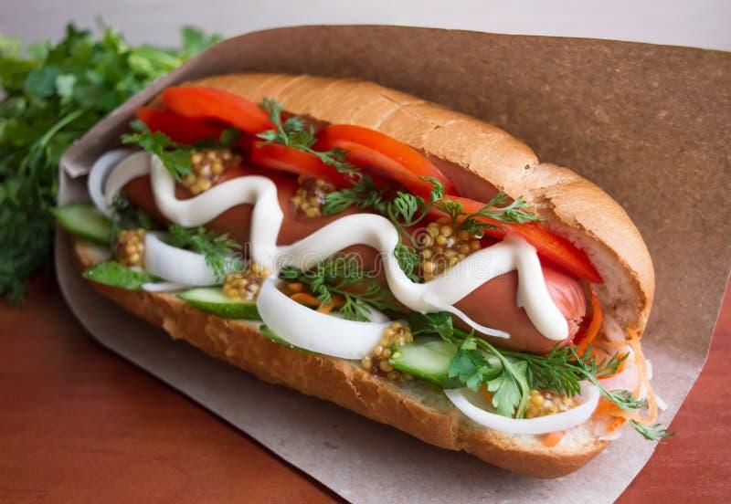 Hot Dog. On a paper napkin stock photo