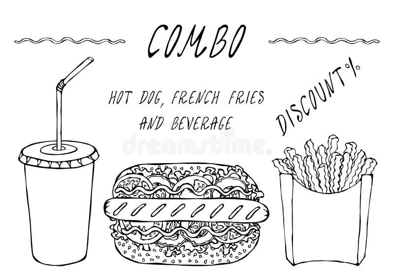 Hot-dog, pommes frites dans une boîte et tasse de papier de remise combinée de kola Menu d'aliments de préparation rapide de rue  illustration libre de droits