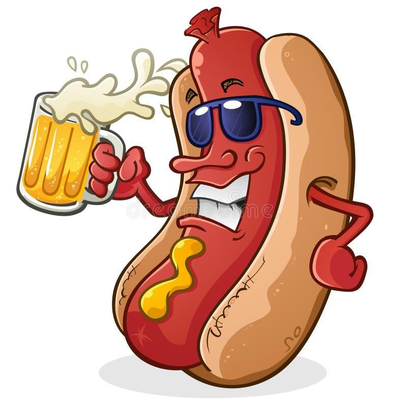 Hot Dog postać z kreskówki Pije piwo ilustracja wektor