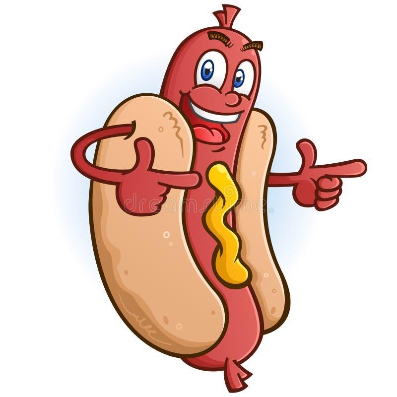 Hot Dog postać z kreskówki Wskazuje Oba palce ilustracji