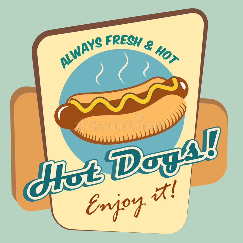 Download Hot dog poster stock vector. Illustration of meat, background - 39503015
