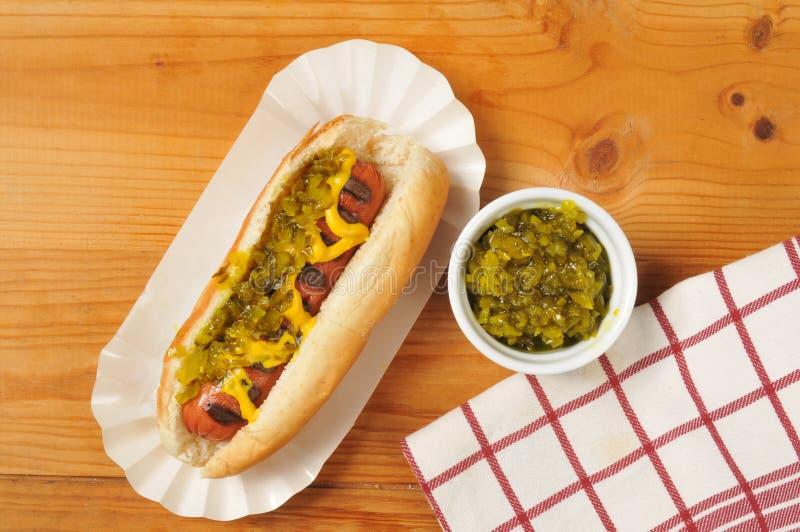 Hot dog with relish stock photos