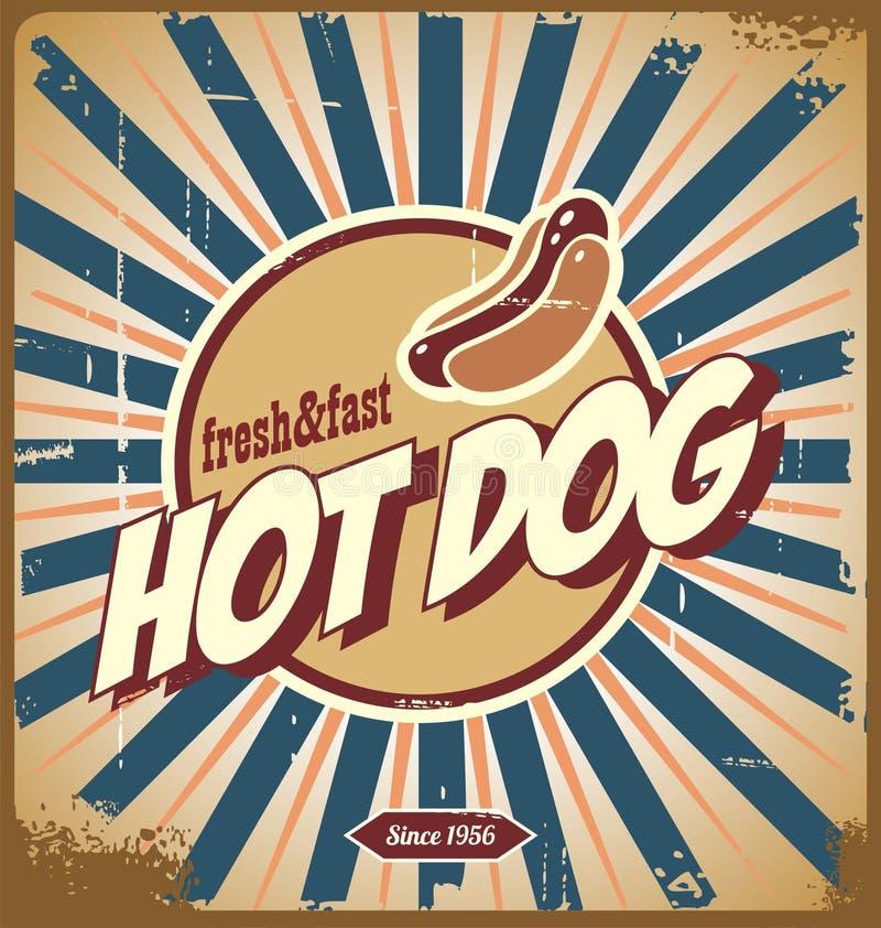 Hot dog rocznika znak ilustracji