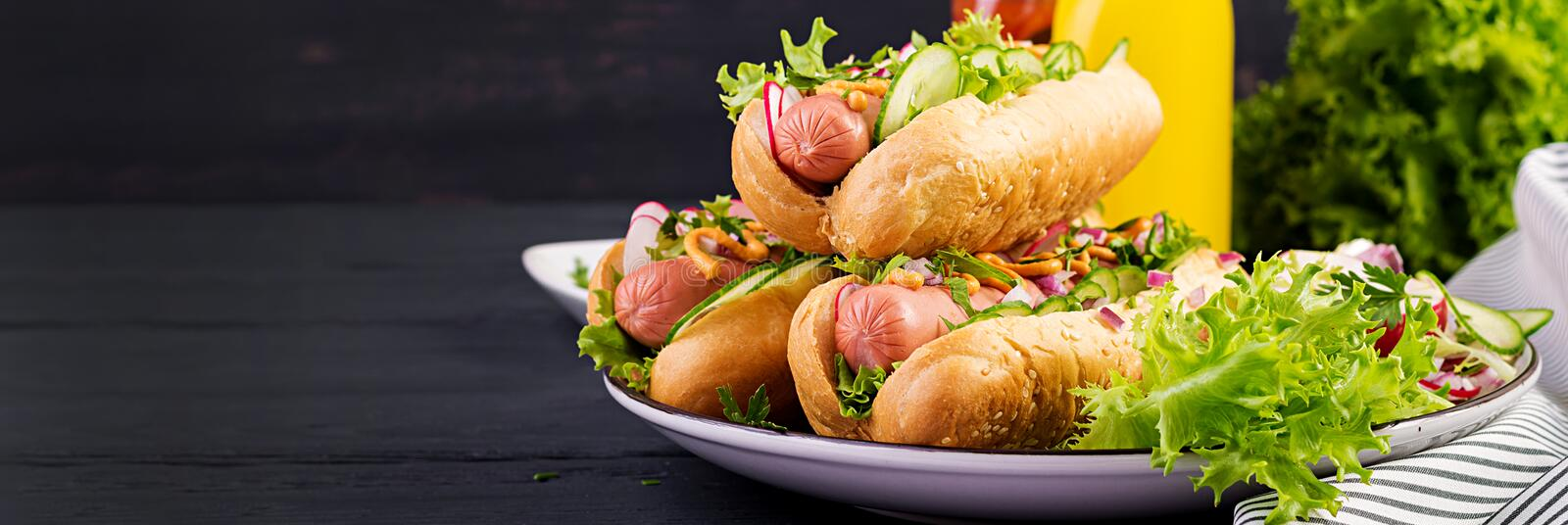 Hot dog with sausage, cucumber, radish and lettuce on dark wooden background. stock images