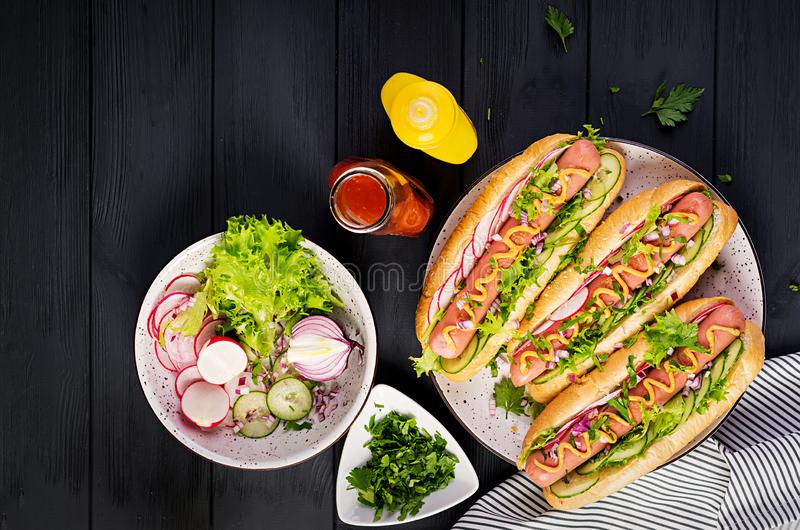 Hot dog with sausage, cucumber, radish and lettuce on dark wooden background. Hot dog with  sausage, cucumber, radish and lettuce on dark wooden background stock photos