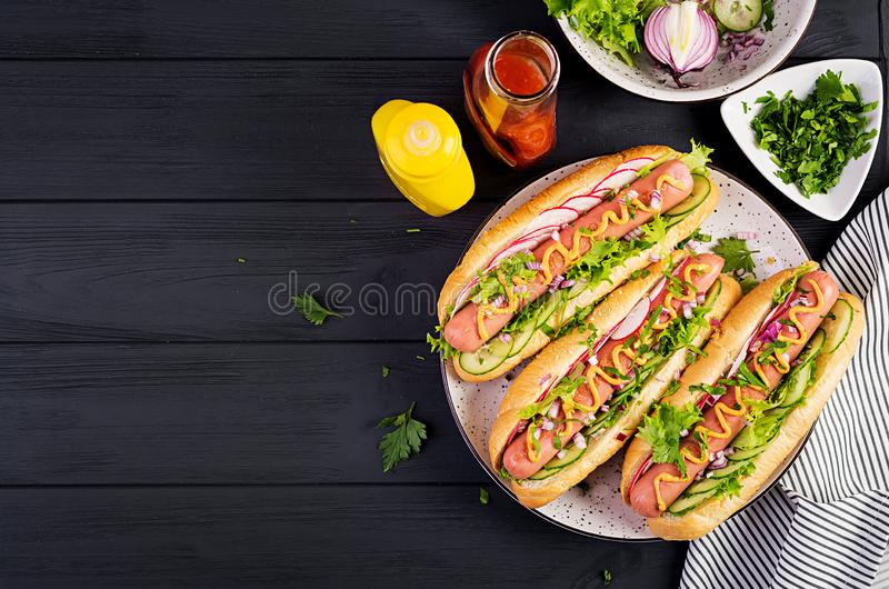 Hot dog with sausage, cucumber, radish and lettuce on dark wooden background royalty free stock photography