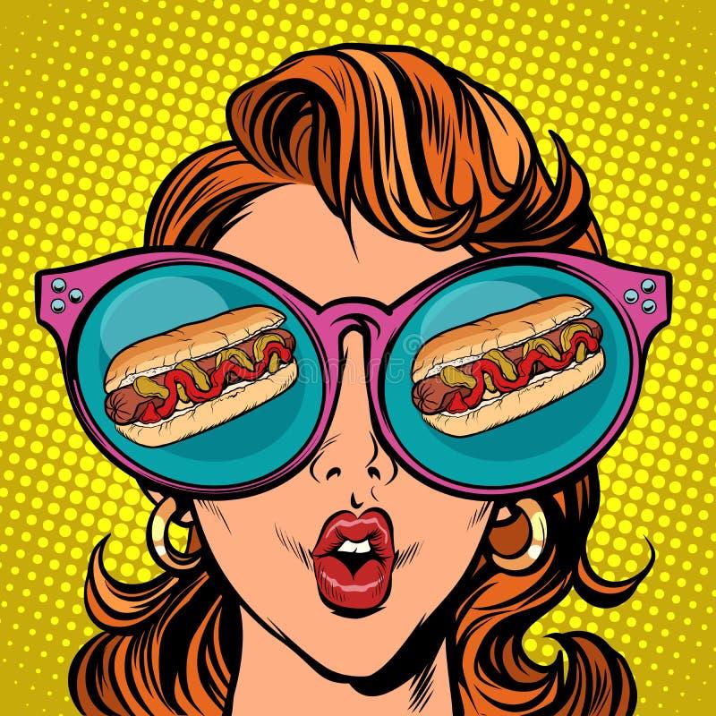 Hot dog sausage ketchup mustard. Woman reflection in glasses vector illustration