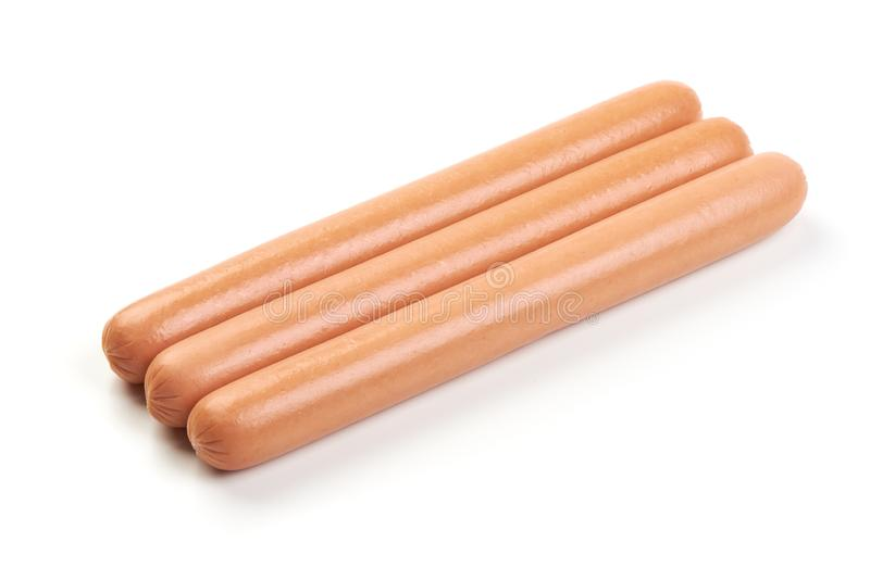 Hot dog Sausages, isolated on a white background.  royalty free stock photography