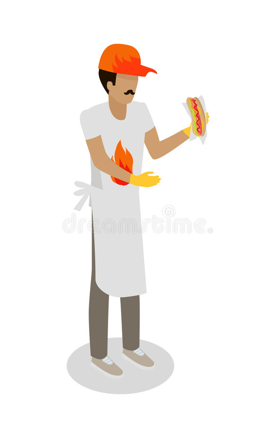 Hot Dog Seller with Fresh Cooked Hotdog Isolated royalty free illustration
