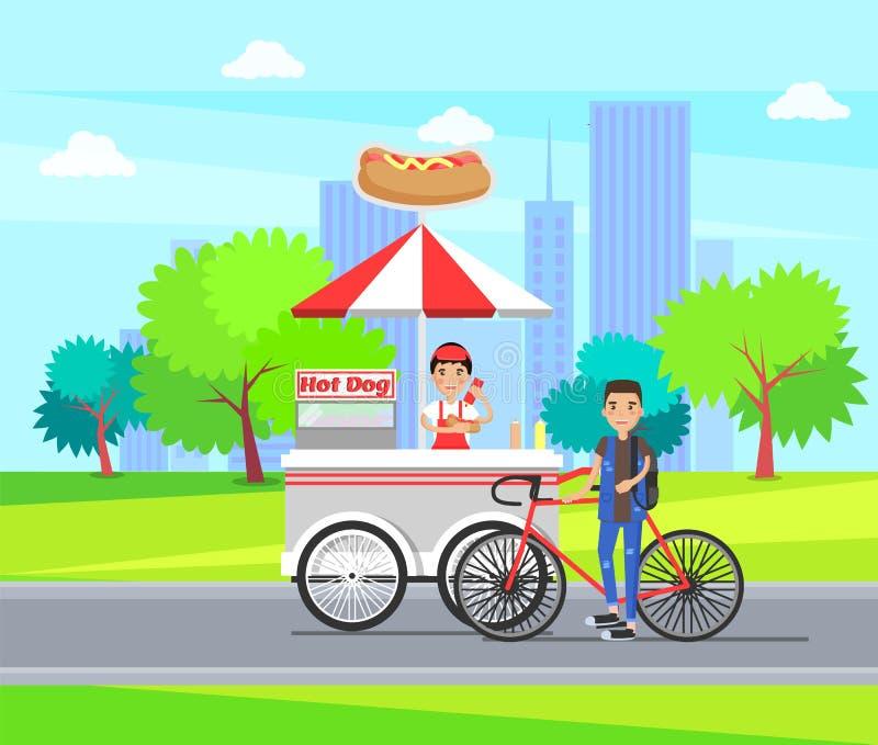 Hot Dog sklepu fur sklep Toczy sprzedawanie kiełbasy ilustracji
