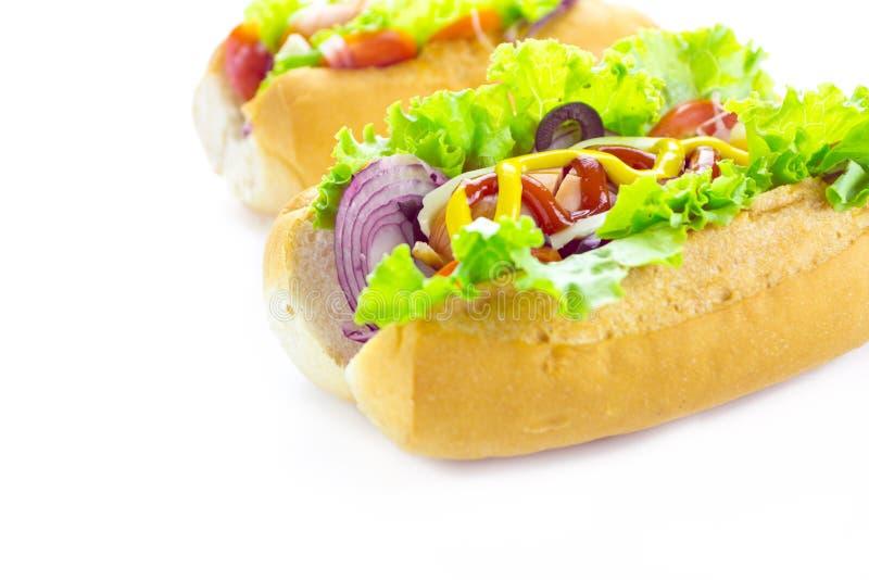 Hot dog sopra bianco fotografia stock
