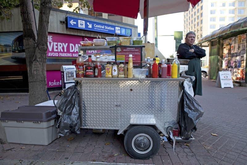 Hot dog sprzedawca w Edmonton, Kanada fotografia royalty free