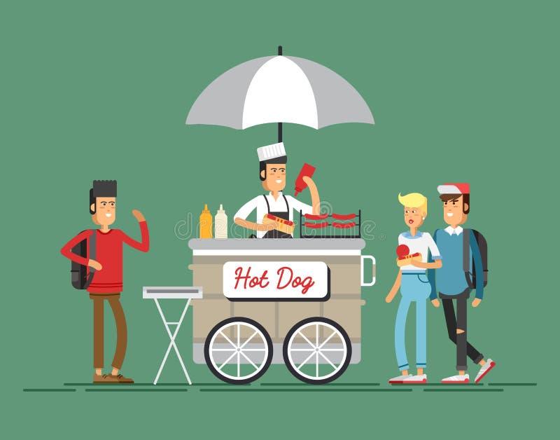 Hot dog street cart with seller. vector. Creative detailed vector street grilled cart or hot dog street cart with seller. Young people having a hotdog stock illustration
