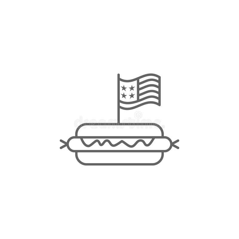 Hot dog usa konturu ikona Znaki i symbole mog? u?ywa? dla sieci, logo, mobilny app, UI, UX ilustracja wektor