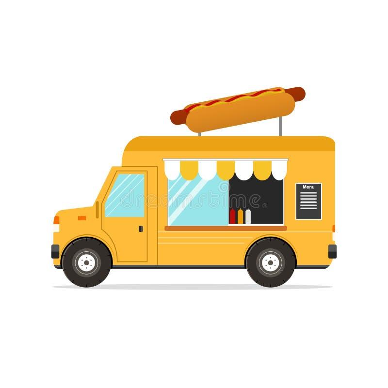 Hot-dog Van Transport d'aliments de préparation rapide Vecteur illustration libre de droits