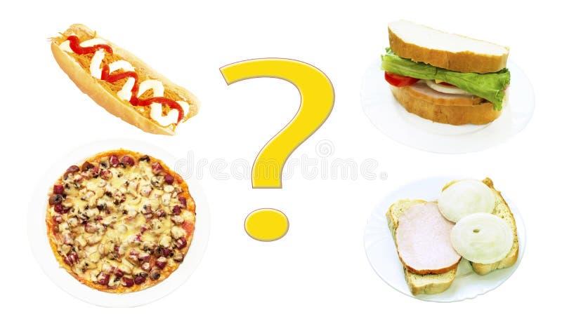 Hot dog, vari panini, pizza e un punto interrogativo immagini stock libere da diritti