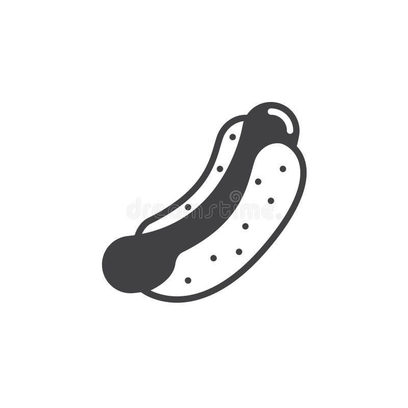 Hot-dog, vecteur d'icône de sandwich à saucisse cuite, signe plat rempli, pictogramme solide d'isolement sur le blanc illustration de vecteur