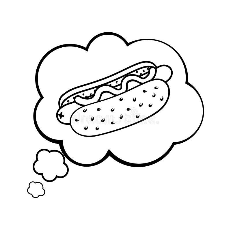 Hot dog w mowa b?bel czarny i bia?y ilustracji