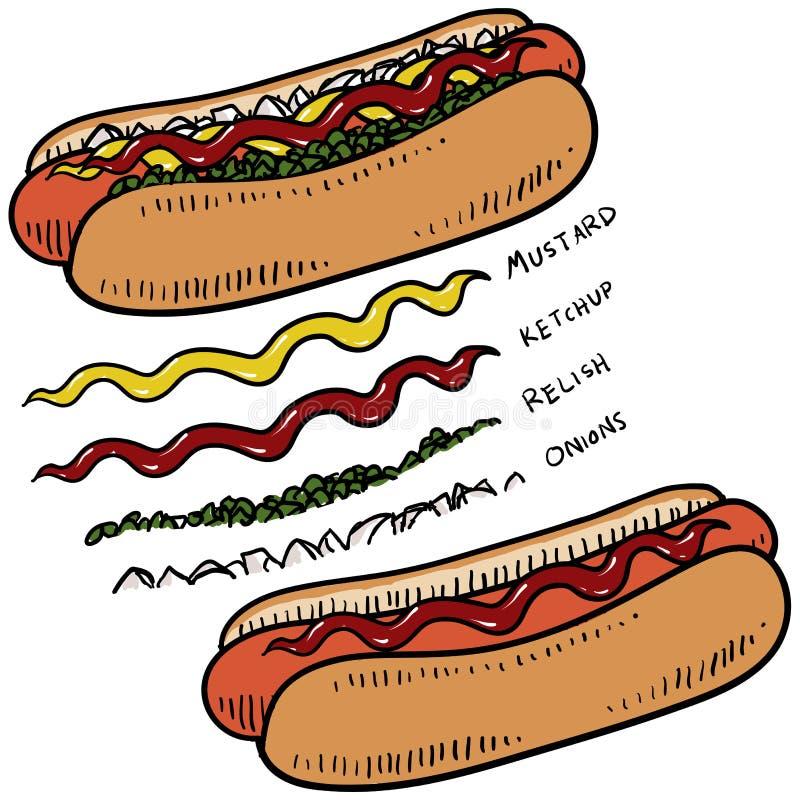 Hot dog z condiments nakreśleniem ilustracji