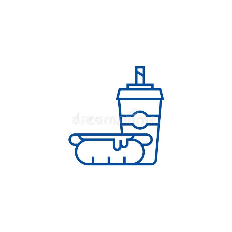 Hot dog z filiżanką, fast food ikony kreskowy pojęcie Hot dog z filiżanką, fasta food płaski wektorowy symbol, znak, kontur ilustracji