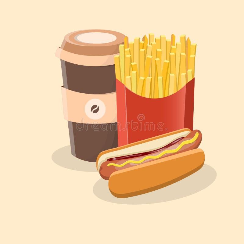 Hot dog z francuzów dłoniakami iść kawą i - śliczna kreskówka barwił obrazek Graficznego projekta elementy dla menu, pakuje ilustracja wektor