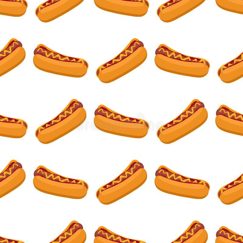 Hot dog z kiełbasą, pomidorowym ketchupem i musztarda kumberlandu bezszwowego deseniowego fasta food amerykańską obiadową wektoro royalty ilustracja