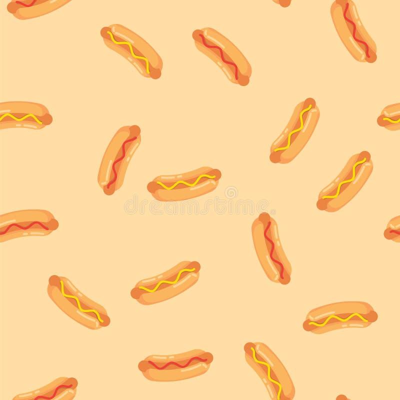 Hot dog z kiełbasą, pomidorowym ketchupem i musztarda kumberlandu bezszwowym wzorem, Deseniowi hot dog na barwionym tle royalty ilustracja