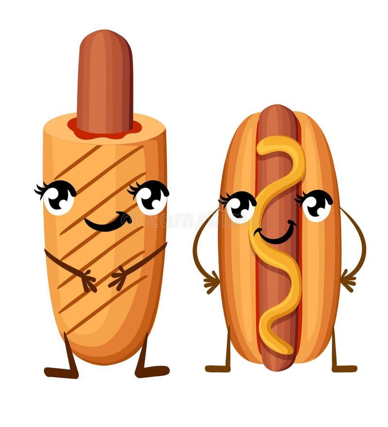 Hot dog z musztardą i kukurydzanym psem z ketchupem z oczami iść na piechotę fastfood z uśmiech twarzy kreskówki stylu ilustracją royalty ilustracja