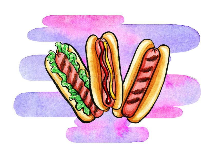 Hot Dog z musztardy, ketchupu i grilla ocenami, royalty ilustracja