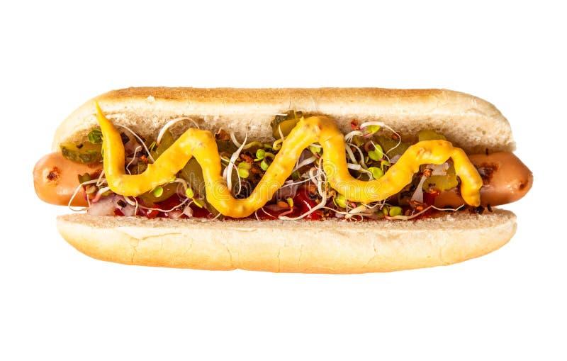Hot dogs d?licieux sur le fond blanc photos libres de droits