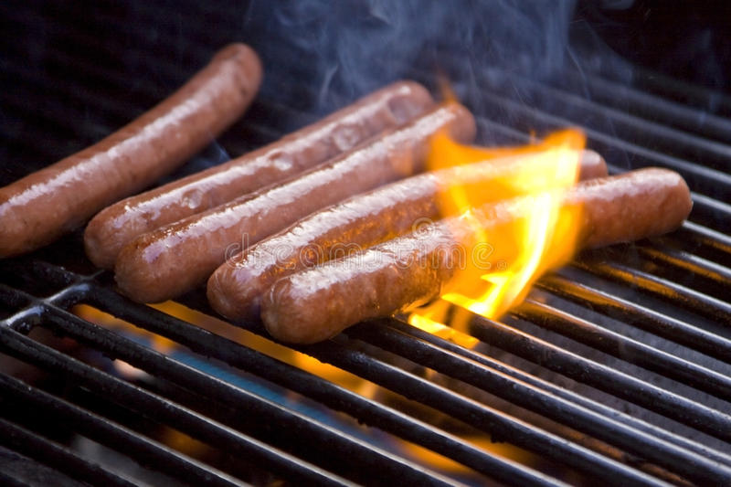 Download Hot Dogs on Grill stock photo. Image of roasting, grilled - 9857638